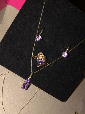 REAL GOLD!real Gold diamond amethyst set for Sale in Anaheim, CA