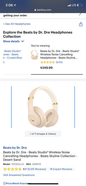 Beats by Dr. Dre - Beats Studio³ Wireless Noise Cancelling Headphones - Beats Skyline Collection - Desert Sand for Sale in Union, NJ