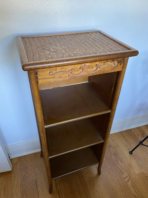 Wood shelf with wicker top and sides. Pick up in Pasadena. for Sale in Altadena, CA
