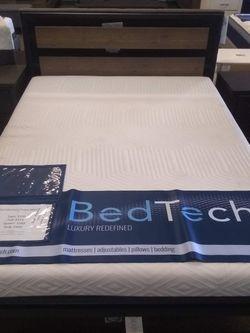 Metal Queen size platform bed frame with 10 inch BedTech Pure Gel Memory Foam Mattress for Sale in Glendale,  AZ