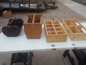 Wooden boxes. Plant holders. Wine rack. Magazine rack. Tote box. All solid wood. Shadow box. Display box.. $8 each. for Sale in Glendale, AZ