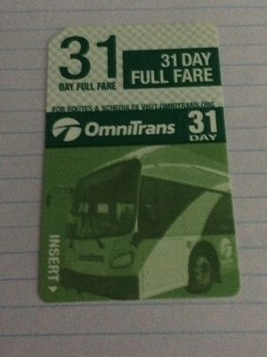 bus pass Omnitrans 31 day full fare $30 or best offer for Sale in Rancho Cucamonga, CA