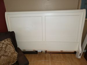 White wood sleigh bed frame from Macy's for Sale in Port St. Lucie, FL