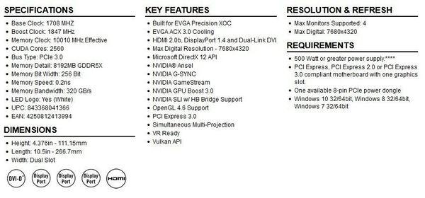 Graphic card gpu EVGA Gtx 1080 SC GAMING