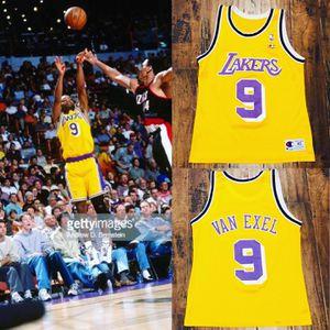 Vintage lakers champion nick van exle jersey kobe shaq nike starter lebron Davis for Sale in Henderson, NV