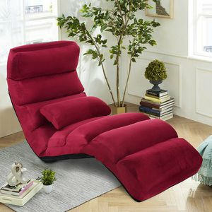Costway Folding Lazy Sofa Chair Stylish Sofa Couch Bed Lounge Chair W/Pillow Burgundy for Sale in Bell Gardens, CA