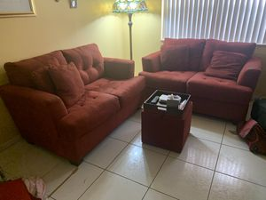 "Pair of Red Micro Fiber 60"" sofa couches & storage cube for Sale in Coconut Creek, FL"