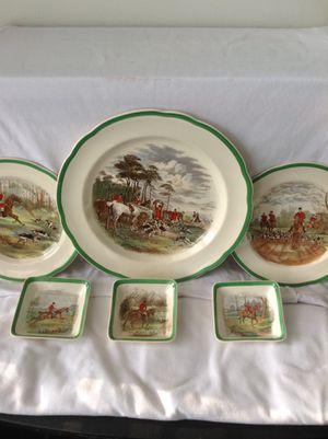 Vintage Copeland Spode Herring Hunt Green Border Porcelain Plate 2/9265 for Sale in Philadelphia, PA