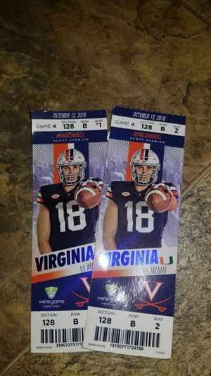 UVA vs. MIAMI 10-13-2018 1pm for Sale in Craigsville, VA