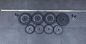 Chrome Barbell and Weight Plates 60lbs for Sale in Johns Creek, GA