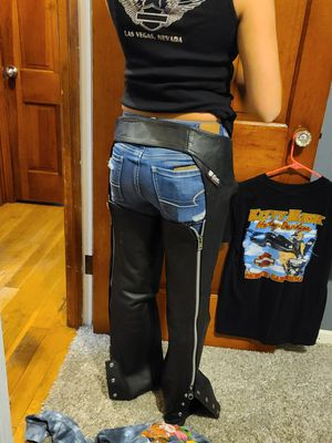 Harley Davidson Wilson leather chaps and vest for Sale in Columbus, OH