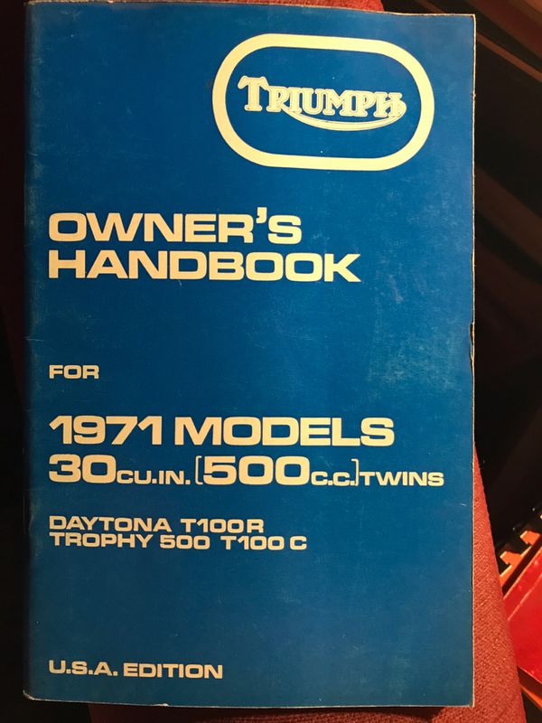 Triumph Motorcycle 1971 Owners manual