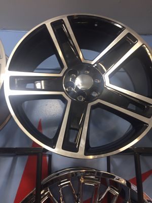 """26"""" 26 inch Black and Machine Carbon Texas edition Chevy gmc replica wheels rims and tires for Sale in Chicago, IL"""