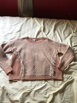Madewell size M pink/white fringe sweater for Sale in Lake Elsinore, CA