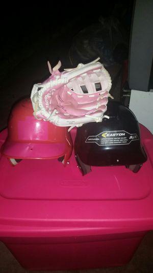 Kids baseball gear helmet glove and ball bag for Sale in Woonsocket, RI