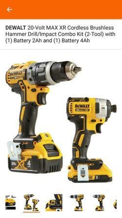 $280... DEWALT 20V XR Brushless Hammer Drill + Impact Combo Kit (2-Tool) with (1) Battery 2Ah and (1) Battery 4Ah for Sale in Evergreen,  CO
