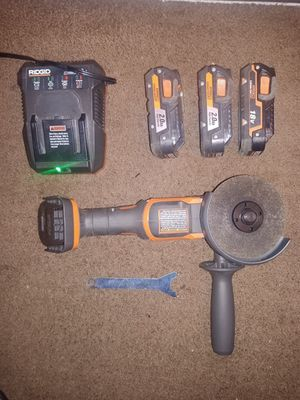 Ridgid angle grinder with batteries and charger for Sale in Oceanside, CA