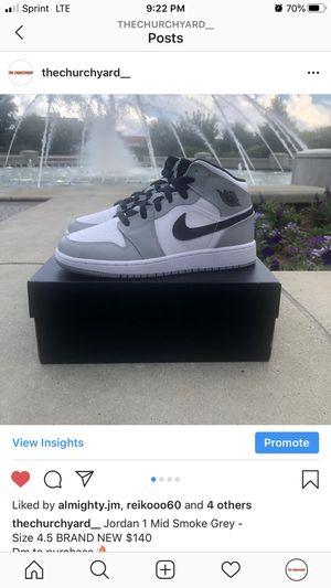 Jordan 1 Mid Smoke Grey Size 4.5 for Sale in Rock Hill, SC