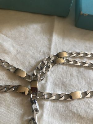 Tiffany&co 18k&sterling Silver cuban necklace for Sale in Houston, TX