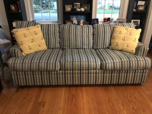 Great Condition - Blue Striped Couch and Pillows for Sale in Seekonk, MA