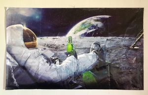 man on the moon poster with beer Fabric Silk Poster for Sale for sale  LRAFB, AR