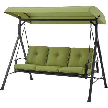 Mainstays Belden Park 3-Person Canopy Porch Swing Bed, Green