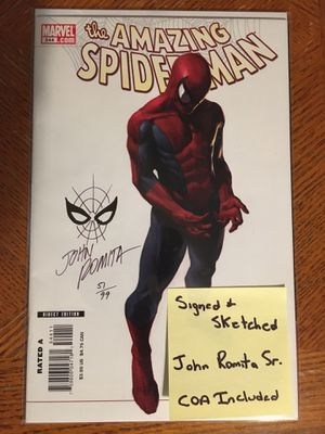 Amazing Spider-Man 544 Featuring a Spidey Head Sketch by Legendary Creator John Romita Sr. Certificate of Authenticity Included for Sale in Fresno, CA