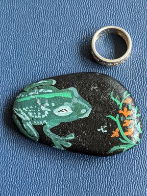 By the beaches stone art: Nite Frog. for Sale in Junction City, OR