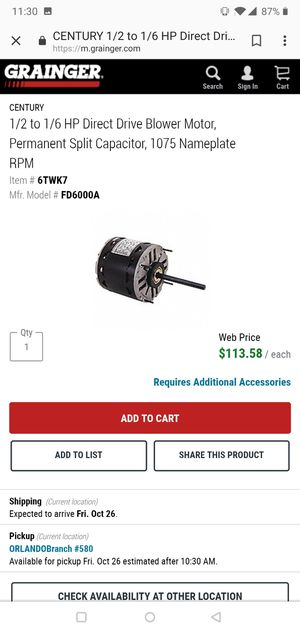 1/2 to 1/6 HP Direct Drive Blower Motor, Permanent Split Capacitor, 1075 Nameplate RPM for Sale in Orlando, FL