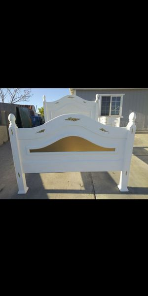 Gorgeous solid wood gold and white queen bed frame for Sale in Las Vegas, NV