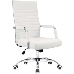 NEW Ribbed Faux Leather Office Desk Conference Chair White for Sale in Los Angeles,  CA