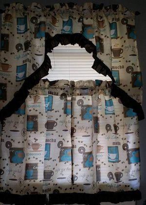 Kitchen Curtain,reloj,placemant,coffe picture for Sale in Philadelphia, PA