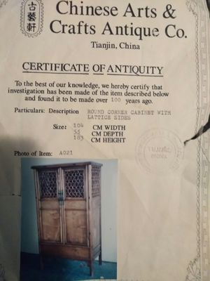 ANTIQUE CHINA CABINET WITH CERTIFICATE for Sale in St. Petersburg, FL