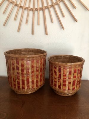 Beautiful pair of vintage wicker and bamboo asian plant holders for Sale in Orlando, FL