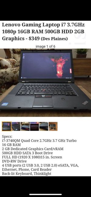 Lenovo Gaming Laptop i7 3.7GHz 1080p 16GB RAM 500GB HDD 2GB Graphics Card for Sale in Chicago, IL