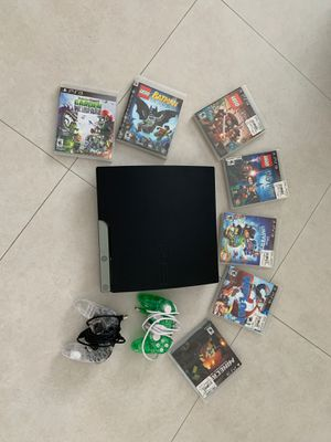 PS3 Console + 7 games + 2 controllers for Sale in Miami, FL