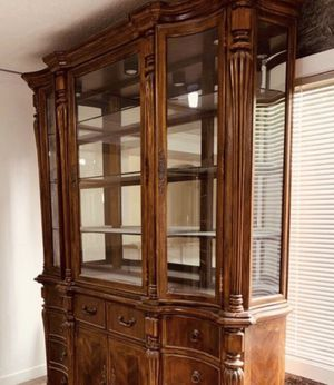Antique Staas China Cabinet It's 70inches long by 90 inches tall The depth is only 21 inches serious buyer only please price is fix pick up from Ren for Sale in Renton, WA