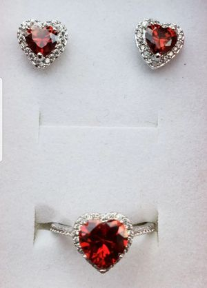 Sterling silver ruby and lab diamond ring and earring set for Sale in Baltimore, MD