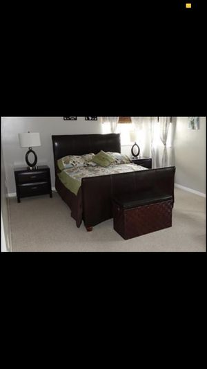 Queen leather bed frame for Sale in Redmond, WA