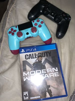 Modern Warfare(Ps4) + 2 Controllers for Sale in Camp Springs, MD