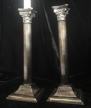 Metal chrome candle holders, H10xW3.5 inch for Sale in Chandler, AZ