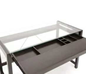 Dark Brown Wood Modern Desk with Glass Top for Sale in New York,  NY