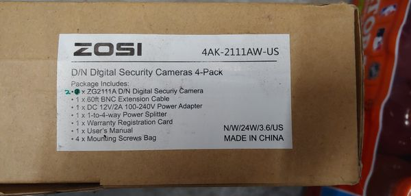 $5 (2) NEW Zosi Digital Day/Night Security Cameras KIT...
