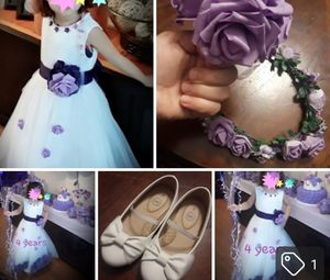 Wedding set for girls 4 years include dress shoes .flowers hand..flowers head..new for Sale in Houston, TX