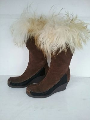 Calvin Klein Ranger Brown Suede, w/ black & Fur trim Rubber Wedge Winter Boots for Sale in Englewood, CO