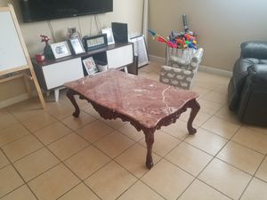 Cherry Carved Pink Marble Top Living Room Set *pick up only* for Sale in Miami, FL