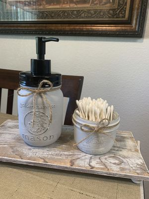 NEW MASON JAR SOAP DISPENSER AND Q-TIPS CONTAINER for Sale in Kerman, CA