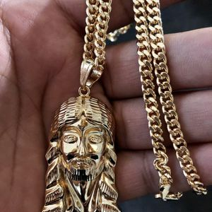 """14kmgl(gold-filled not plated or stainless ) Jesus pendant & 5mm 24""""Inch cuban link chain , includes warranty for Sale in Tampa, FL"""