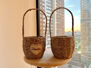2 little Rattan Basket for wedding flower girl Easter plant pot home decor for Sale in Jersey City, NJ