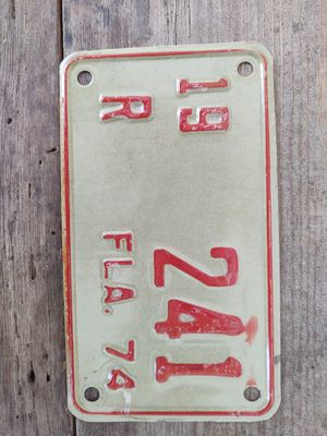 Florida 1974 Motorcycle License Plate for Sale in Fort Defiance, VA